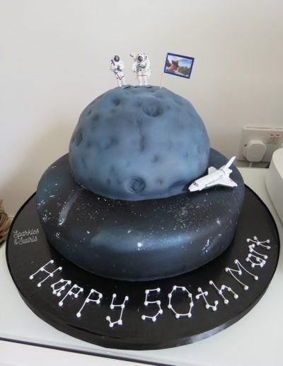 Moon and space 50th birthday cake