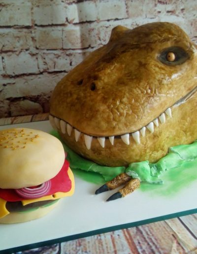 Dinosaur head and burger cake