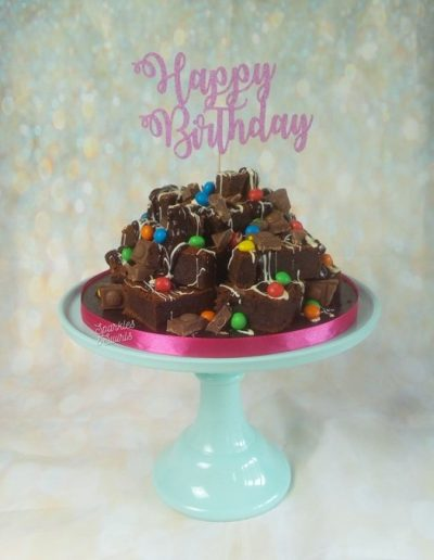 Brownie tower birthday cake