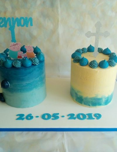 Children's double cake for birthday and Christening joint celebration