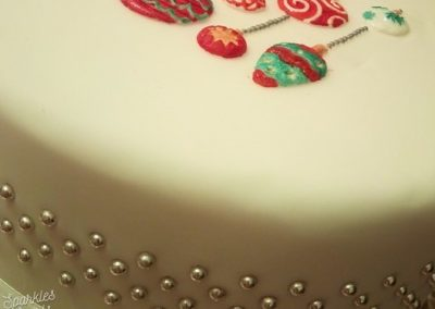 Bauble hand painted Christmas cake