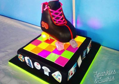 80s Retro Roller Skate Disco Birthday Cake