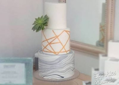 Modern Marble & Gold Wedding Cake